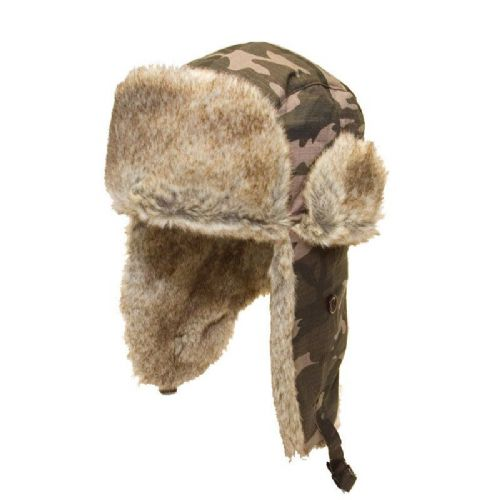 Camouflage Trapper Hat with Faux Fur Lining